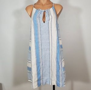 NWT Lou & Grey Blue Linen Striped Halter Dress